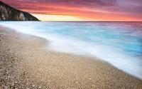 картинки огненный закат на пляже